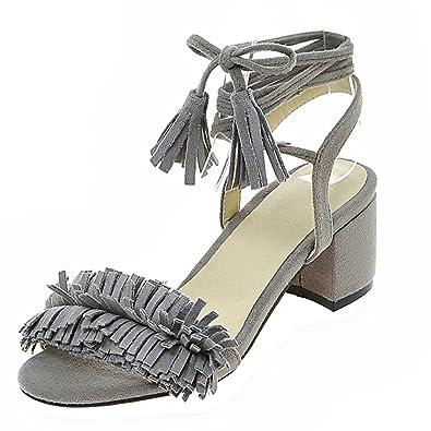 AIYOUMEI Damen Offen Blockabsatz Sandalen mit 5cm Absatz und Fransen Chunky Heel Sommer Stiefel I4CqH