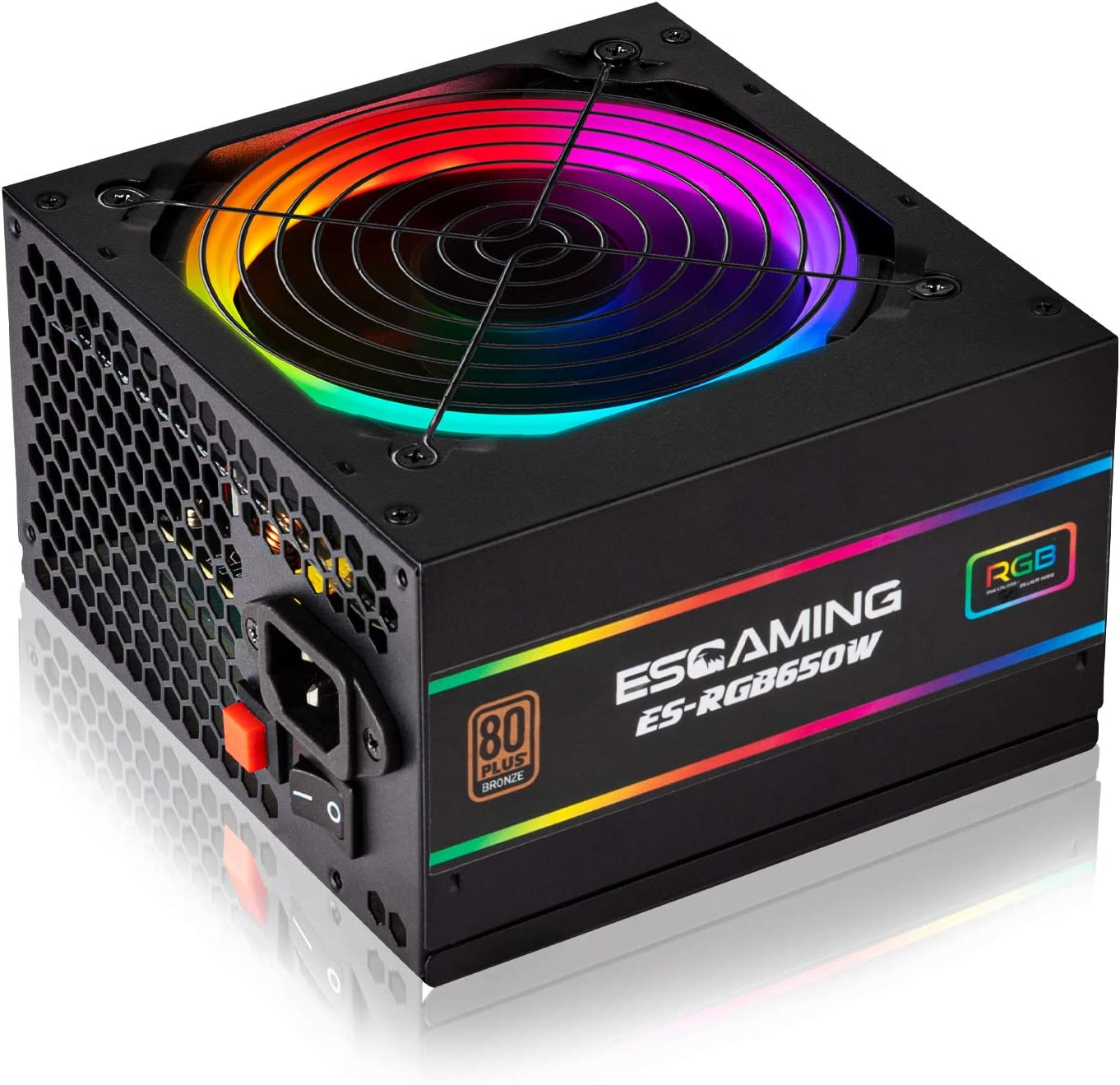 Amazon Com Esgaming 650w Power Supply 80 Plus Bronze Certified Psu Gaming Pc Power Supply With Addressable Rgb Light And 120mm Rgb Cooling Fan Computers Accessories