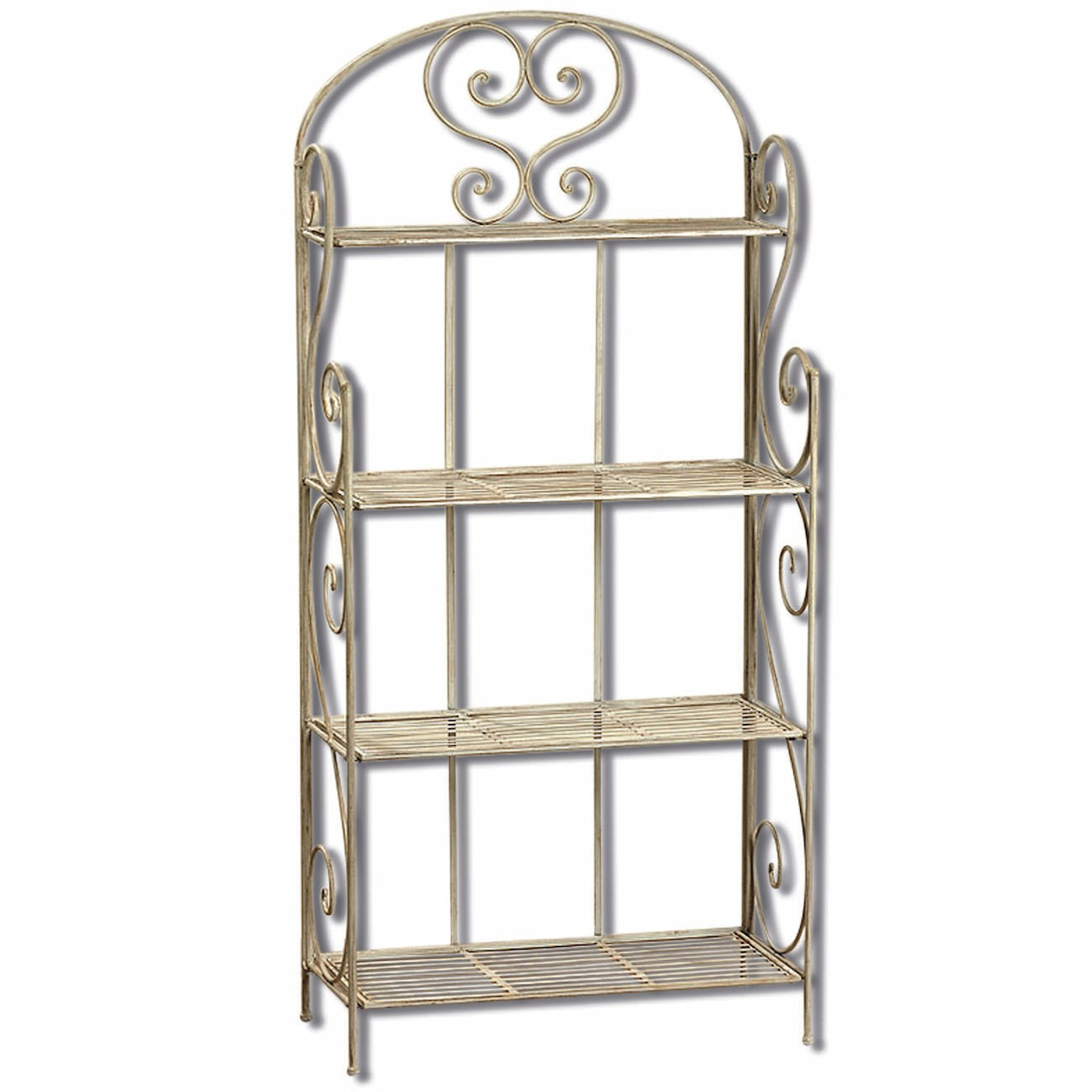 The Farmer's Market Bakers Rack, Rustic White, Distressed Vintage Reclaimed Style, Wrought Iron, For Indoor and Outdoor Use, Over 5 Ft, 63 Inches Tall, By Whole House Worlds by Whole House Worlds