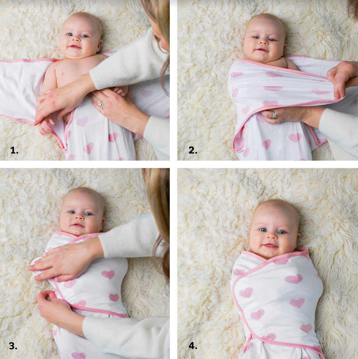 Baby Swaddle Blanket Wrap Set (3 Pack) Pink Peony, Pink Heart, Pink Buffalo Plaid Ziggy Baby