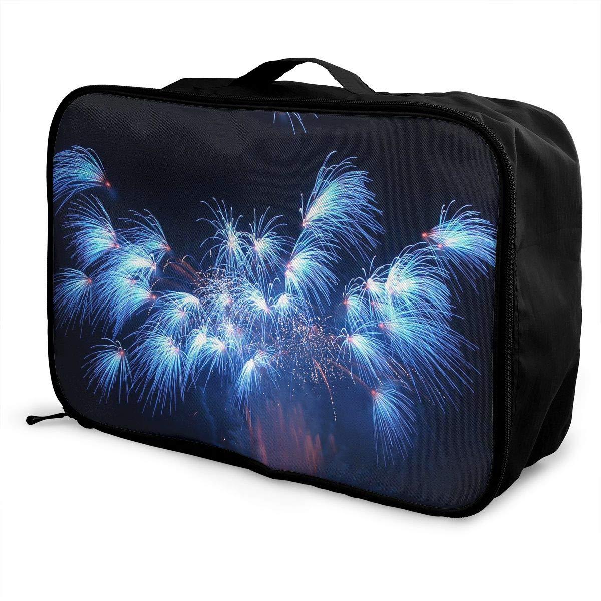 Travel Luggage Duffle Bag Lightweight Portable Handbag Fireworks Print Large Capacity Waterproof Foldable Storage Tote