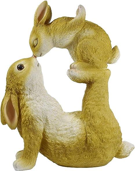 1 Paar Dekofigur Kaninchen Gartenfigur Wildkaninchen Zwerghase  Deko