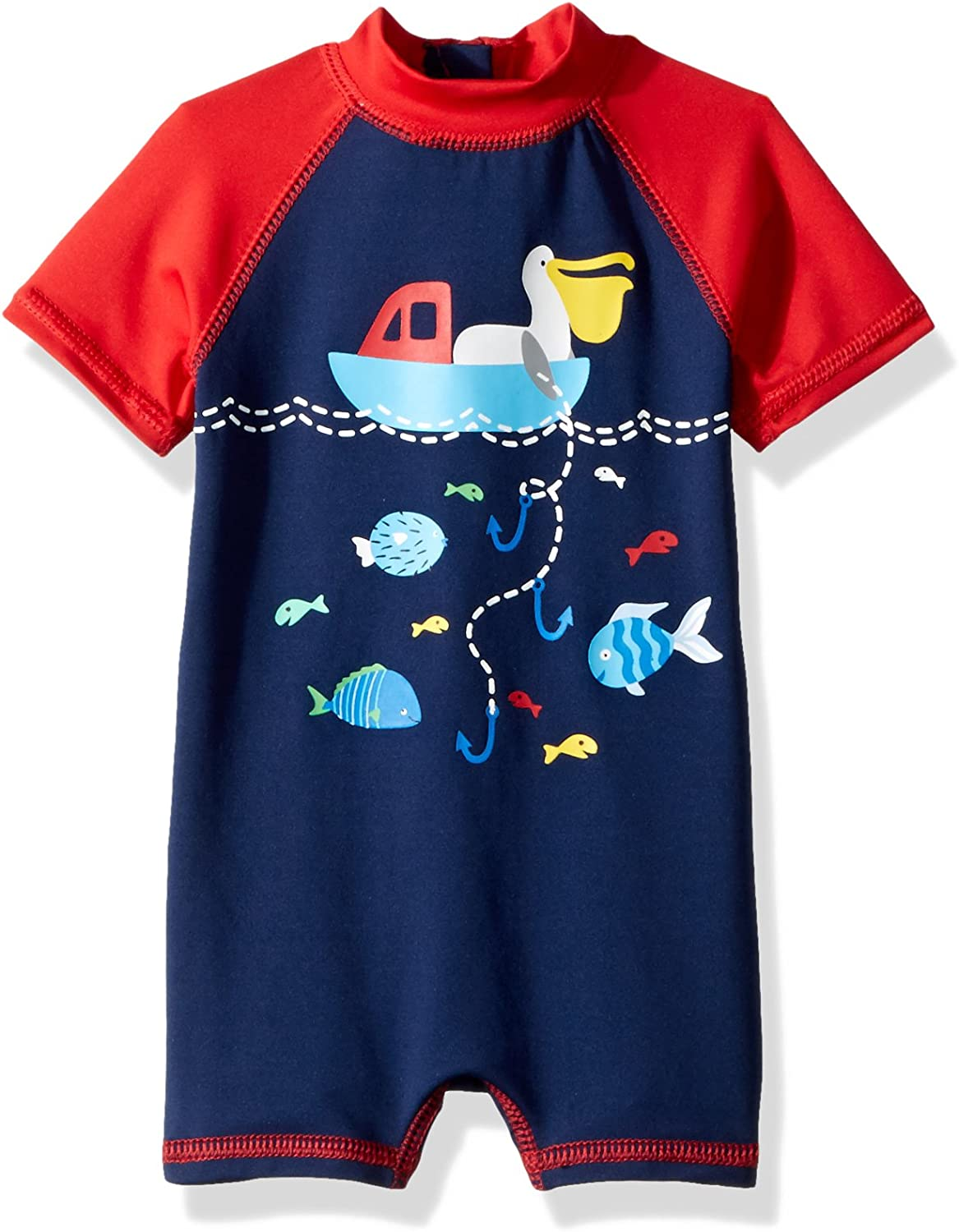 Wippette Baby Boys One-Piece Rash Guard Sunsuits Size 6-9 Months Newborn and Infant Sun Protection Swimsuit Navy//Stripe Crab