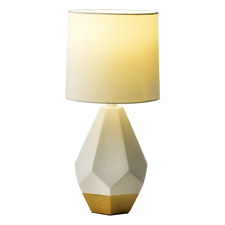 Modern Ceramic Table Lamp, White Gold