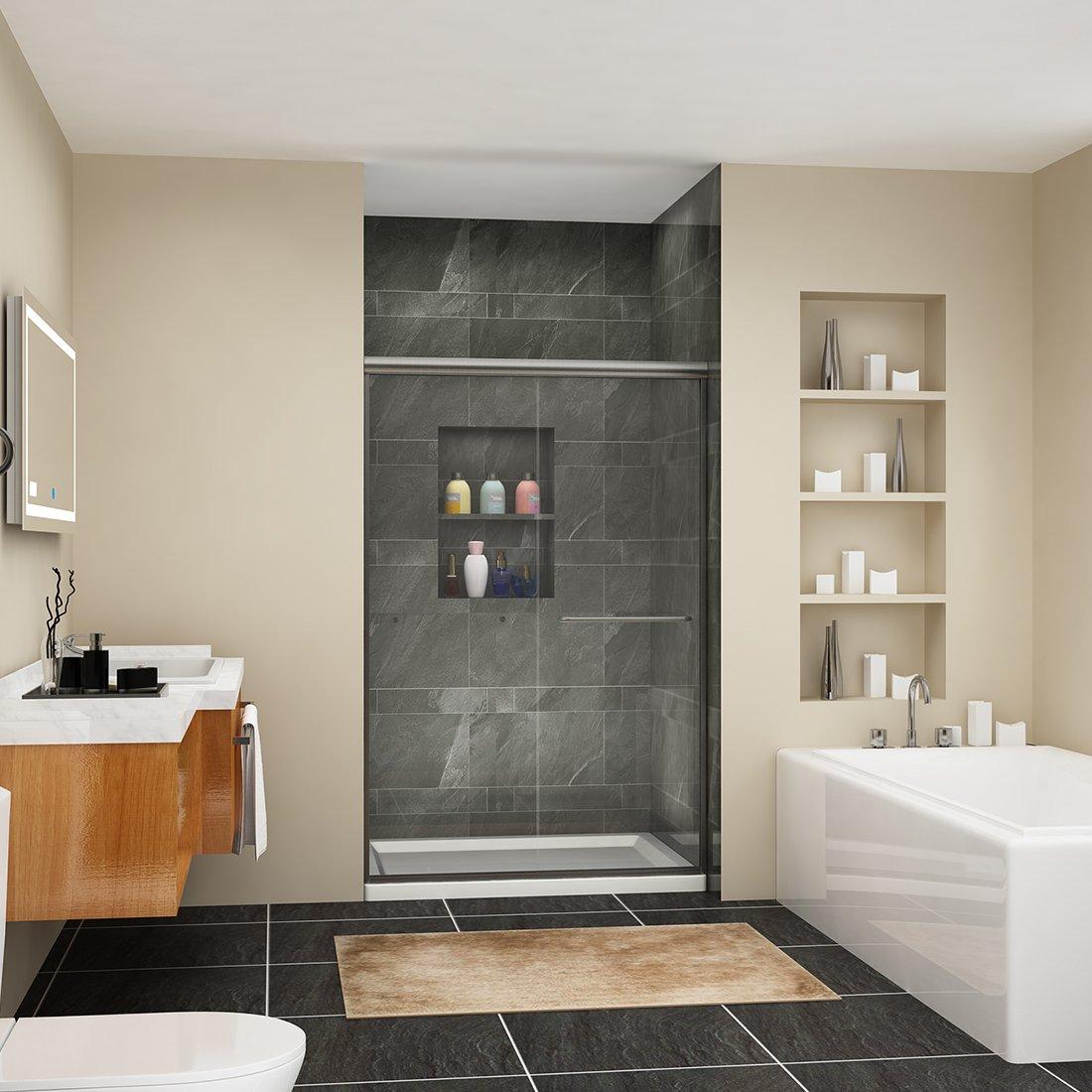 SUNNY SHOWER Semi-frameless Glass Sliding Shower Doors 1 4 Clear Glass Shower Screen Panel 48 W x 72 H, Brushed Nickel