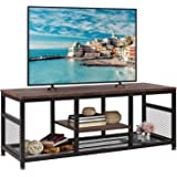 VECELO TV Stand for 55 Inch, Entertainment Center Media Console Table with Storage for Living Room and Bedroom, 47 Inch, Brow