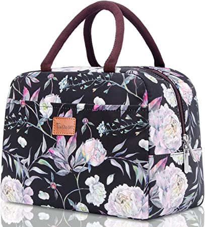 Lunch Bags for Women TianQin WY Insulated Lunch Tote bag Leak-proof lunch box Cooler Bag for Working Picnic Beach Sporting (black flower)