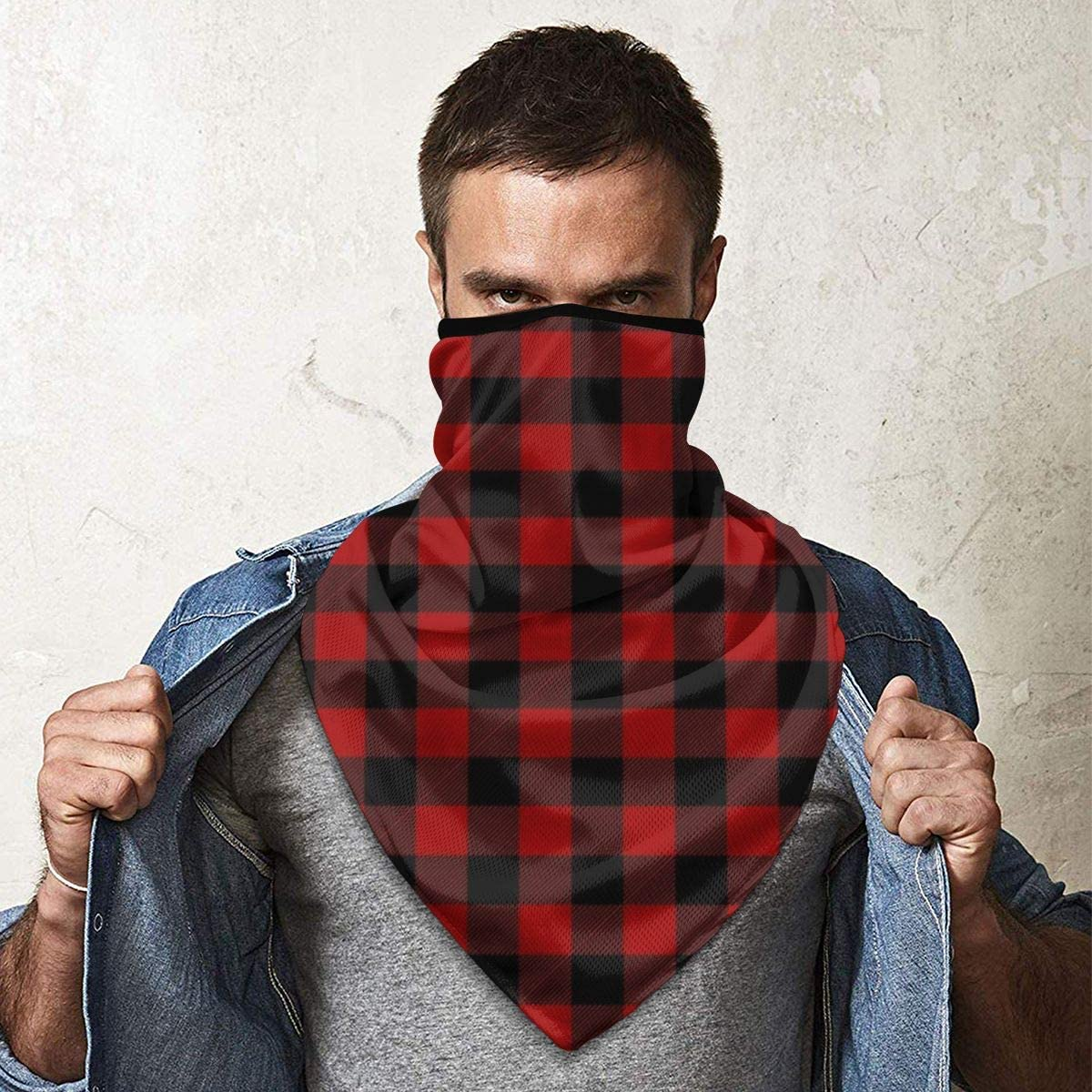 Wind-Resistant Face Mask/& Neck Gaiter,Balaclava Ski Masks,Breathable Tactical Hood,Windproof Face Warmer for Running,Motorcycling,Hiking-Red and Black Plaid