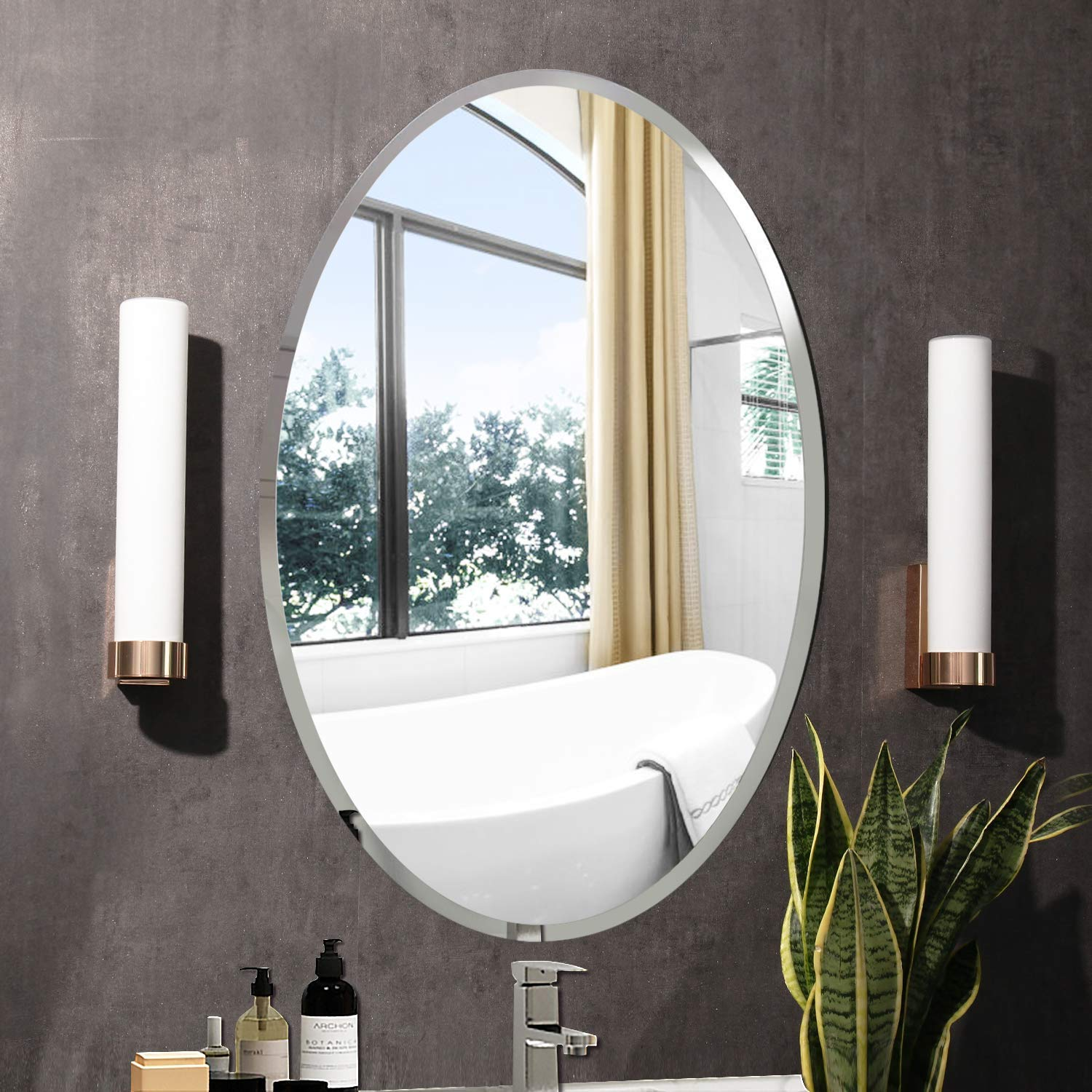 Buy Seven Horses Oval Bevelled Mirror Glass White 18x 24 Inch Online At Low Prices In India Amazon In