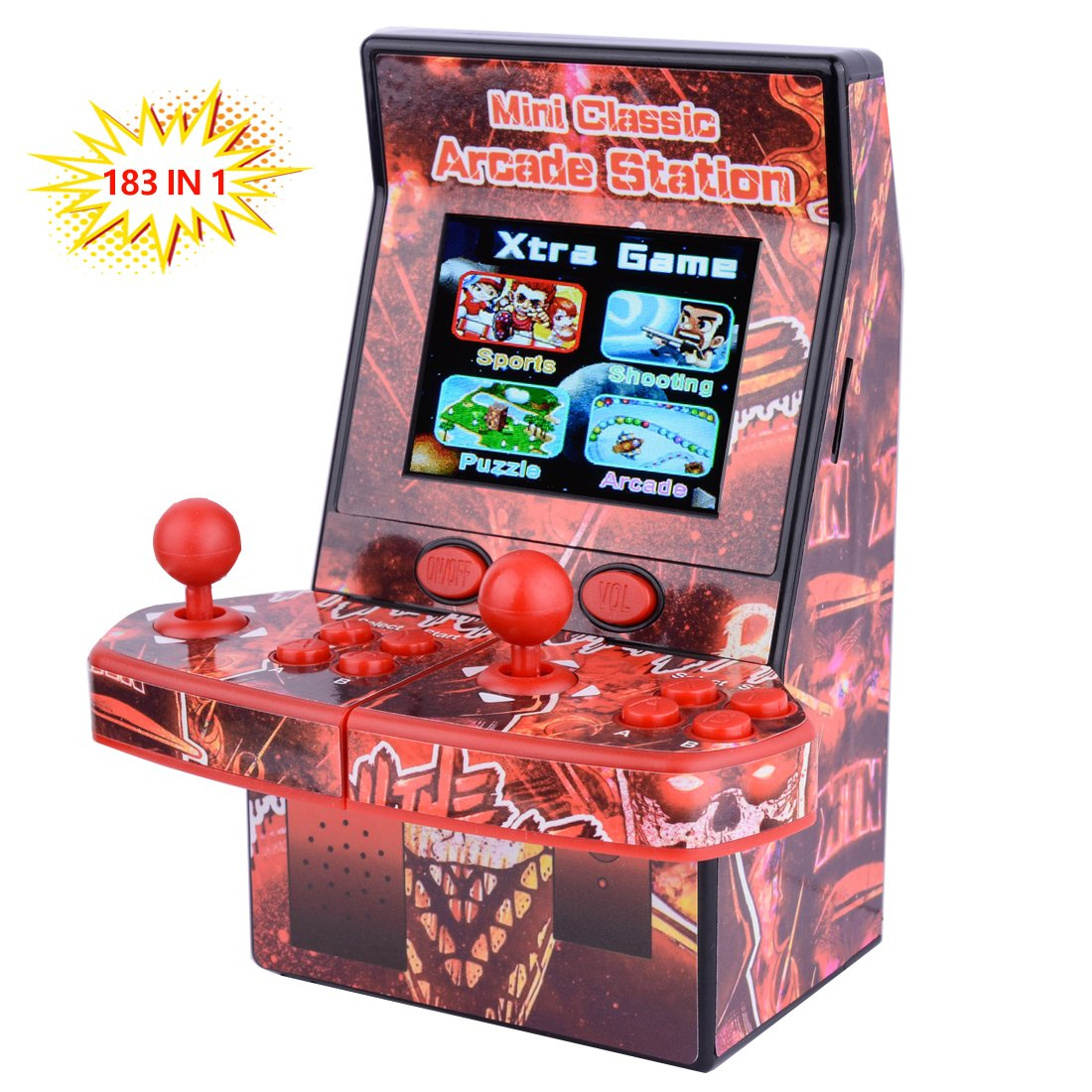 ZHISHAN Mini Arcade Portable Handheld Game Console Gaming Player Birthday Gift for Kids Built in 183 Classic Retro Double Play Games with 2.8'' LCD Big Screen (Red