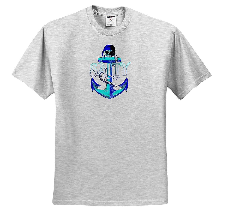- T-Shirts Nautical Coastal Colors Nautical Anchor and Pirate Skull 3dRose Macdonald Creative Studios Salty