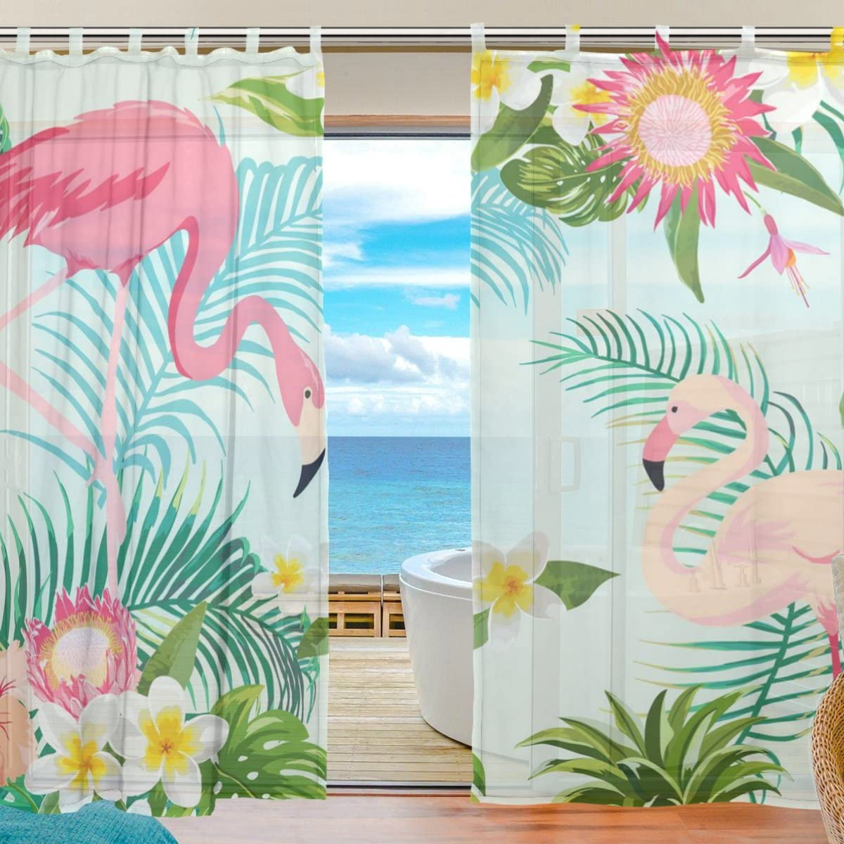 JSTEL 2-Piece Leaf Flower Flamingos Pattern Print Tulle Polyester Door Voile Window Curtain Sheer Curtain Panels for Bedroom Decor Living Room Drape Two Panels Set 55×78 inch