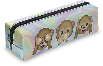 Estuche escolar con holograma y emoticonos de monos ...