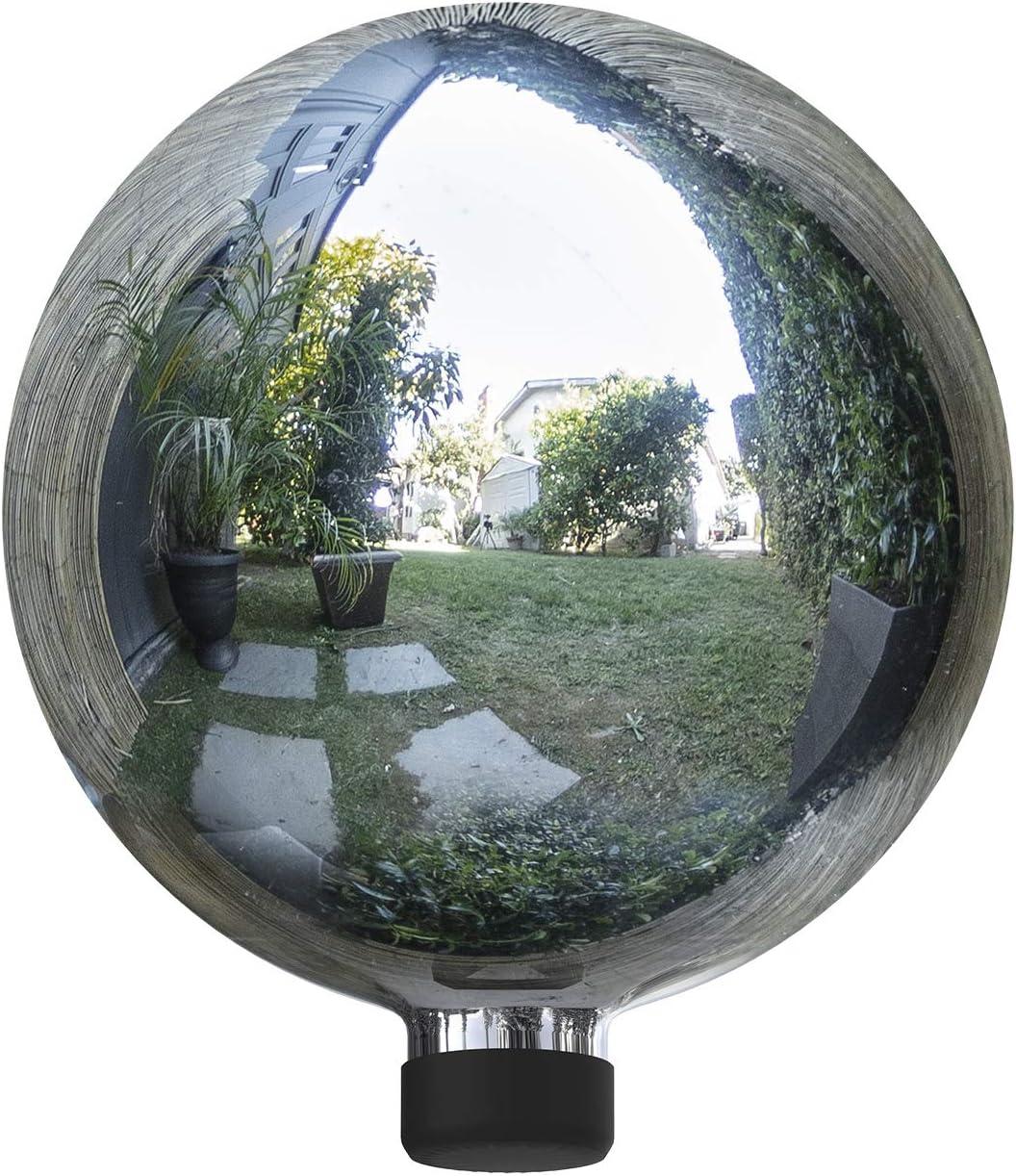 Alpine Corporation GLB292SL Garden, Lawn, Yard, Silver Alpine Glass Gazing Globe, Outdoor Festive Holiday Décor f