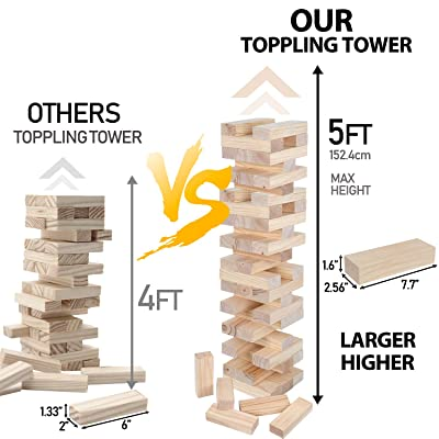 Nova Microdermabrasion 54 Pieces Giant Toppling Tumble Tower Blocks Game (2.5 ft to Over 5 ft) Wood Stacking Game Tumbling Timbers Outdoor Yard Game, Carry Bag: Toys & Games