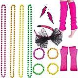BRT 80s Neon Necklaces Bracelets Fishnet Gloves Leg warmers Lace Bow Headband Neon Earrings 1980s Fancy Dress Accessories Party Costume for Women Girls Ladies