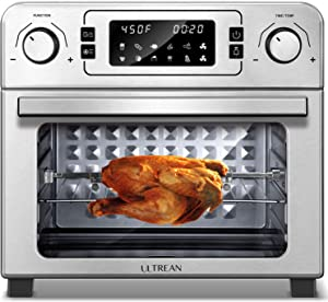 Ultrean 10-in-1 Toaster Oven with Rotisserie, Dehydrator, Bake and Air Fryer Function, 24 Quart Family Size Rotisserie Oven Combo with LED Display, 7 Accessories, Recipe Books,1700W