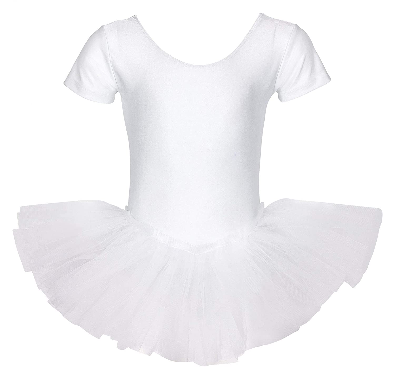 tanzmuster Kinder Ballett Trikot Ballettanzug Alina mit Tutu-Röckchen - Balletttutu aus 3-lagigem Tüll. Zauberhaftes Ballettkleid für Mädchen in rosa, weiß und schwarz. weiß und schwarz.