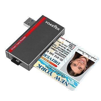 VOASTEK Inteligente USB 3.0 Lector de Tarjetas | Lector de DNI Electrónico y CAC Inteligente Lector de Tarjetas | Adaptador de Tarjeta SD/Micro SD