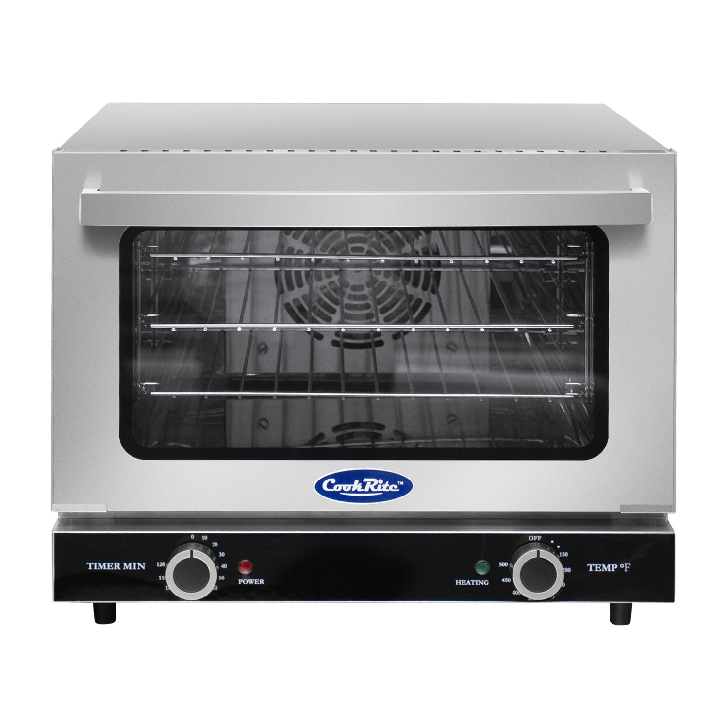 Commercial Electric Convection Oven,COOKRITE CRCC-25 Commercial Small Electric Countertop Convection Oven Stainless Steel Countertop Ovens Compact Toaster 1/4 Shelves