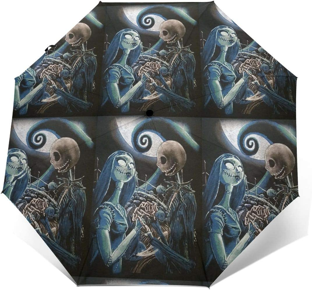 Windproof Travel Umbrella Jack Skellington Sally Compact Folding Umbrella Automatic Open//Close