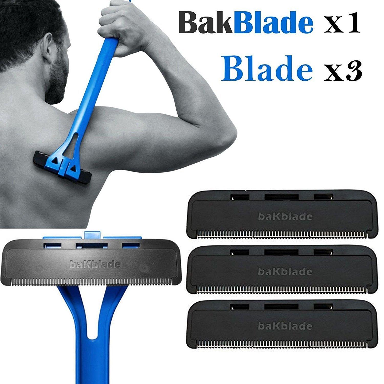 1x Bakblade avec 3Dos Hair Remover Ensemble de rasage pour homme facile d'utilisation rasoir Code: Bak-blade-01