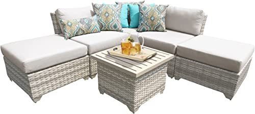 TK Classics FAIRMONT-06f 6 Piece Outdoor Wicker Patio Furniture Set