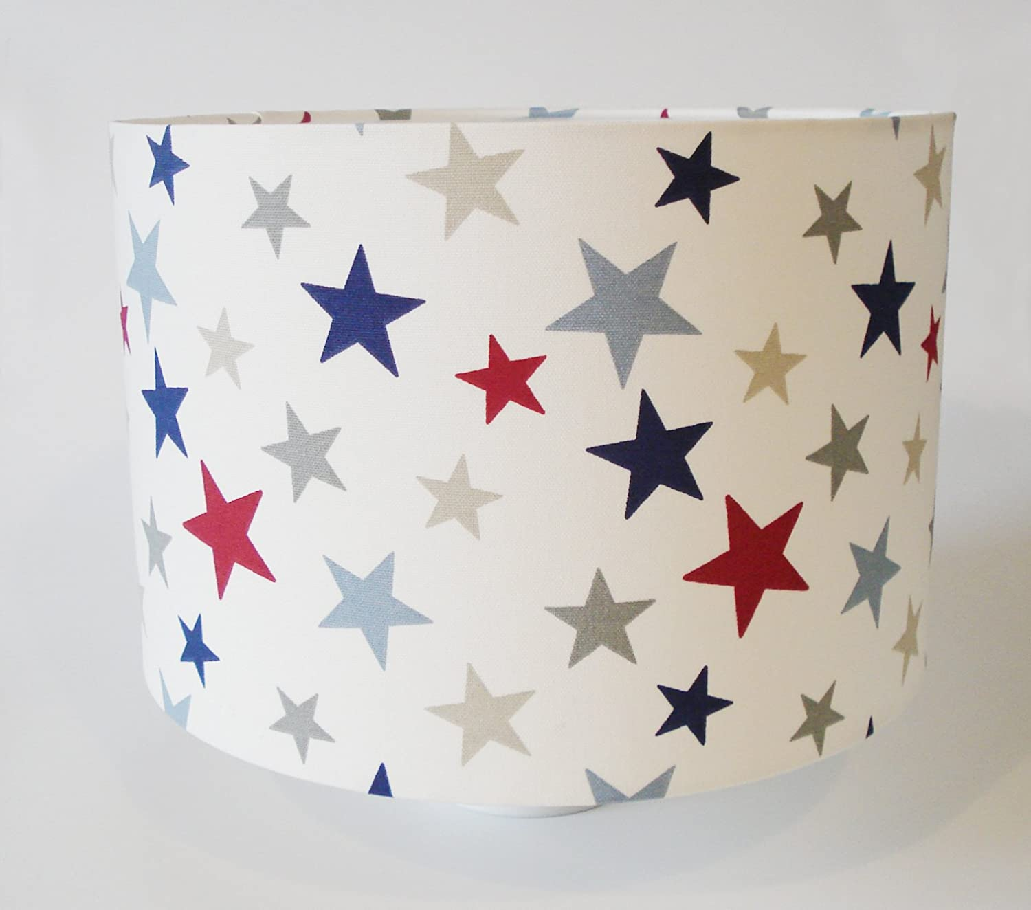 Star fabric lampshade large red blue grey stars amazon star fabric lampshade large red blue grey stars amazon lighting mozeypictures Images