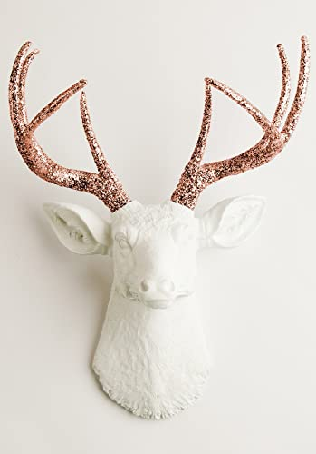 White Faux Taxidermy The Templeton White Faux Deer Wall Sculpture White/Copper Glitter