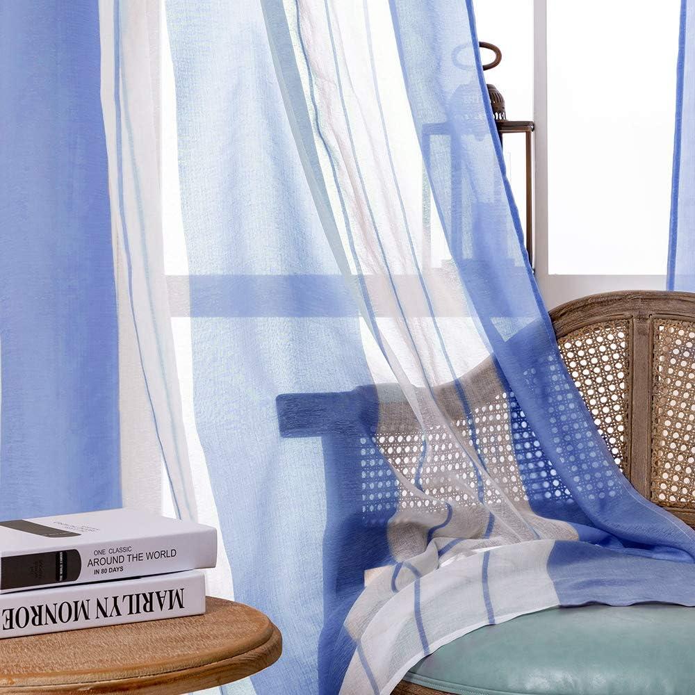 Blanca+Gris MRTREES Transl/úcida Cortinas Visillo Rayas de Dormitorio Moderna con Hebilla para Ventanas Voile Sala para Ni/ños Sala Comedor Ba/ño 2 Piezas 140/×145cm An/×L
