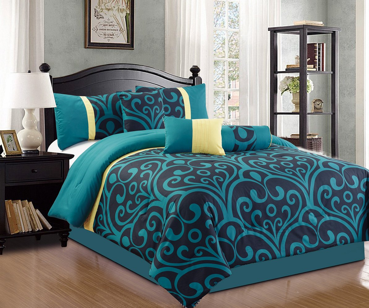 7 Piece Bedding Blue / Black / Yellow Comforter Set