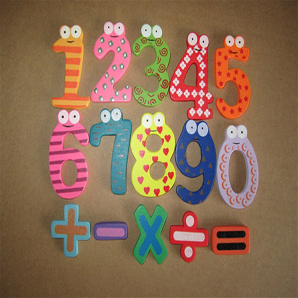 15pcs Cute Magnetic Numbers Decor Wooden ToyS Gifts
