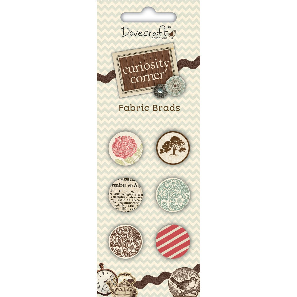 Dovecraft Curiosity Corner Fabric Brads - Pack Of 6 Trimcraft DCES008