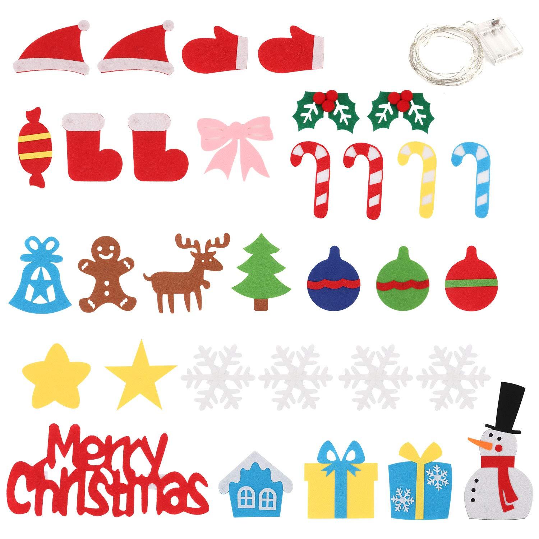 Bageek Fieltro /Árbol de Navidad Kinder Navidad DIY Adornos Navidad 5m Luces de Navidad 32 Decoraciones para /árboles de Navidad de Forma Desmontable M/óviles