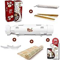Appareil à sushis et makis Merci Myself- Sushi Bazooka- Kit sushi maker,Cadeaux: EBOOK 100 pages (23 recettes)+ 2 paires baguettes + supports+ Natte sushi en bambou.Cadeau idéal fan cuisine facile,DIY