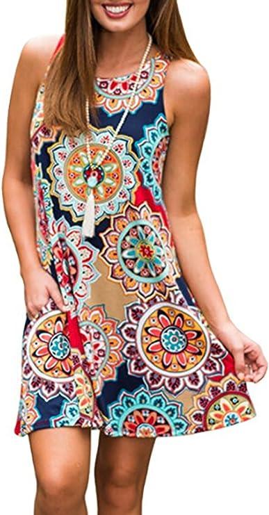 Womens Summer Sleeveless Bohemian Print
