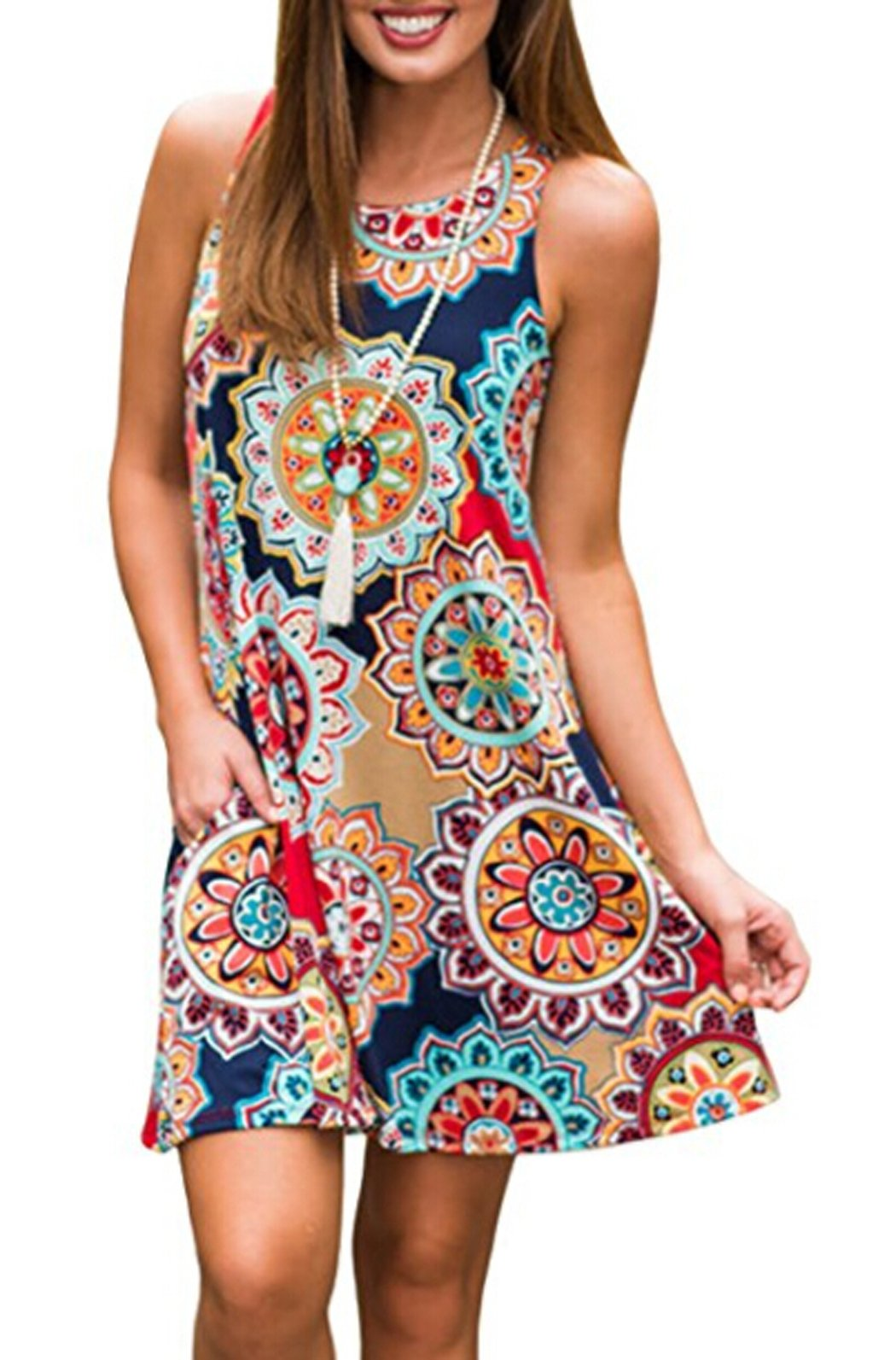 POGTMM Ladies Casual Ethnic Flower Print Beach Loose Tank Plus Size Short Dresses(Navy Blue,XXL) by POGTMM (Image #1)