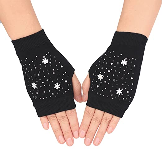 Flammi Womens Knit Fingerless Mittens With Thumb Hole