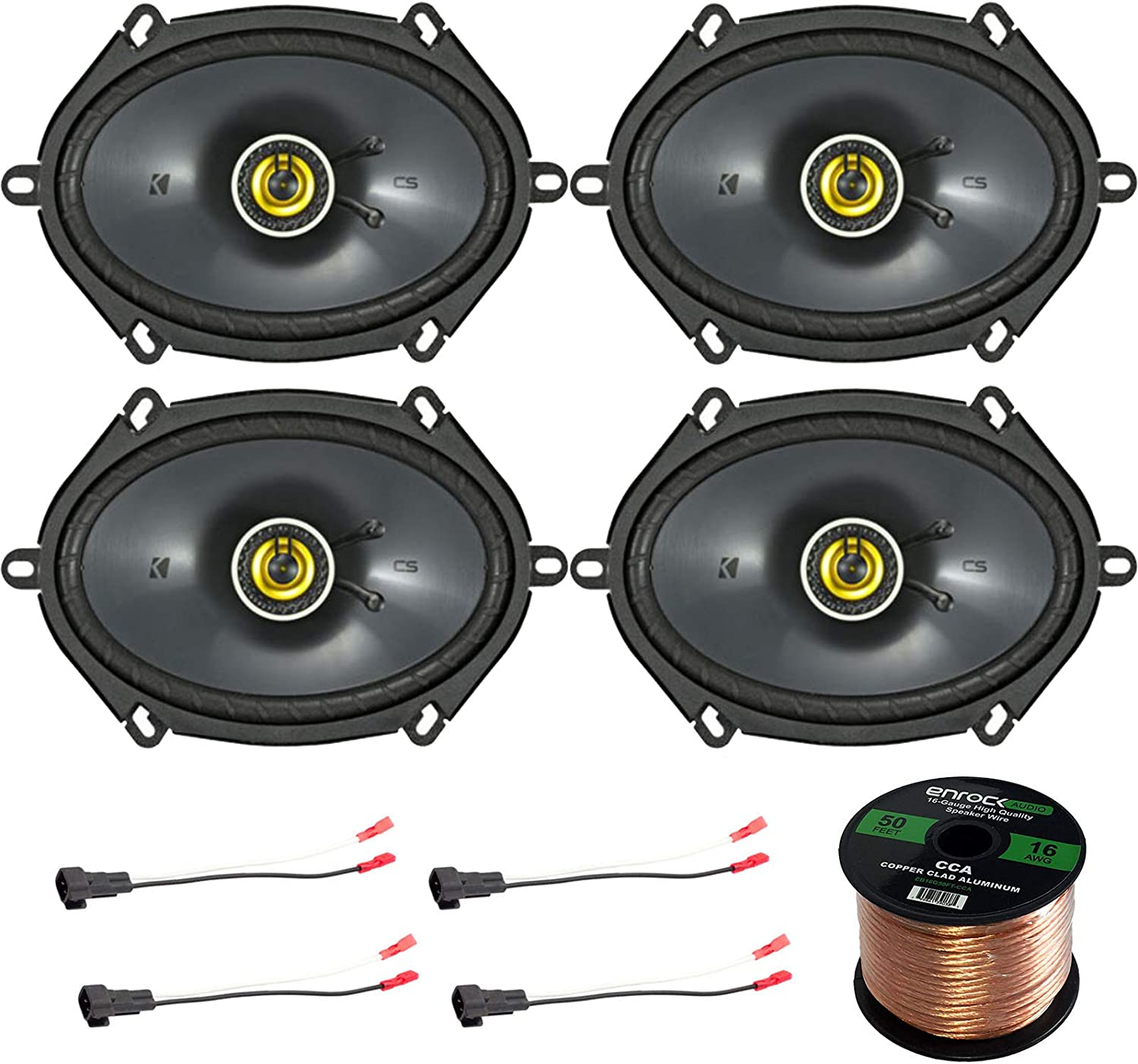 Car Speaker Set Combo of 10 Kicker 100CS101010 10x10 Inch 1050W 10-Way Car Coaxial  Stereo Speakers + 10 Metra 710-51000 Speaker Connector for Ford, Lincoln,
