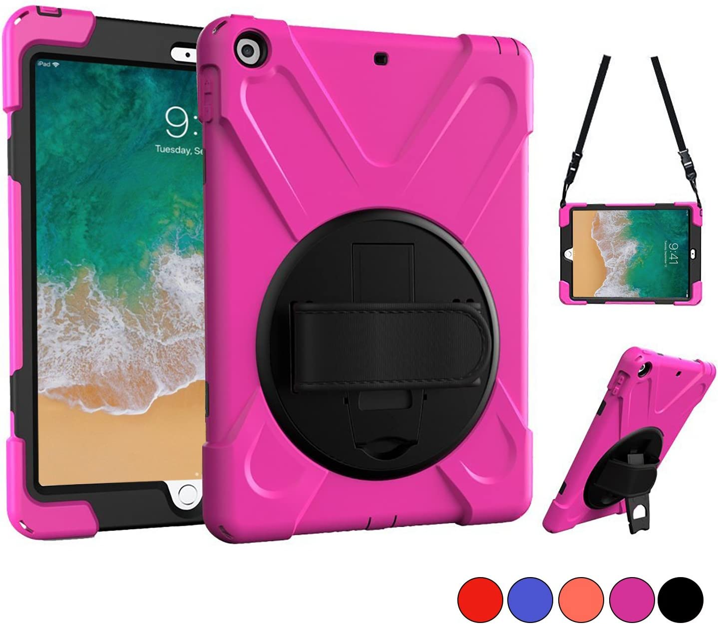 New iPad 9.7 2018 2017 Case, iPad 5th 6th Generation Case, Protective Case with Shoulder Strap, Hand Grip & 360 Rotating Stand, Heavy Duty Hard Case for Kids 9.7 Inch A1822 A1823 A1893 A1954 (Pink)