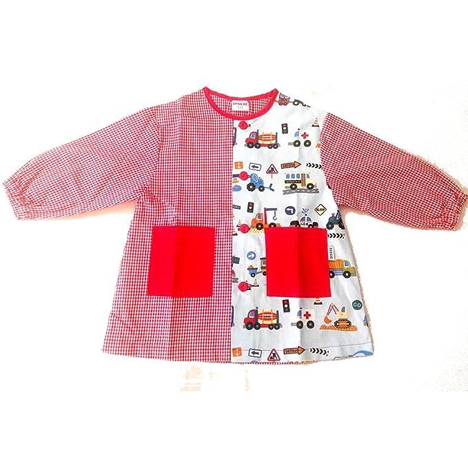 Dyneke Bata escolar botón rojo Coches (personalización opcional gratuita con nombre bordado) (Talla