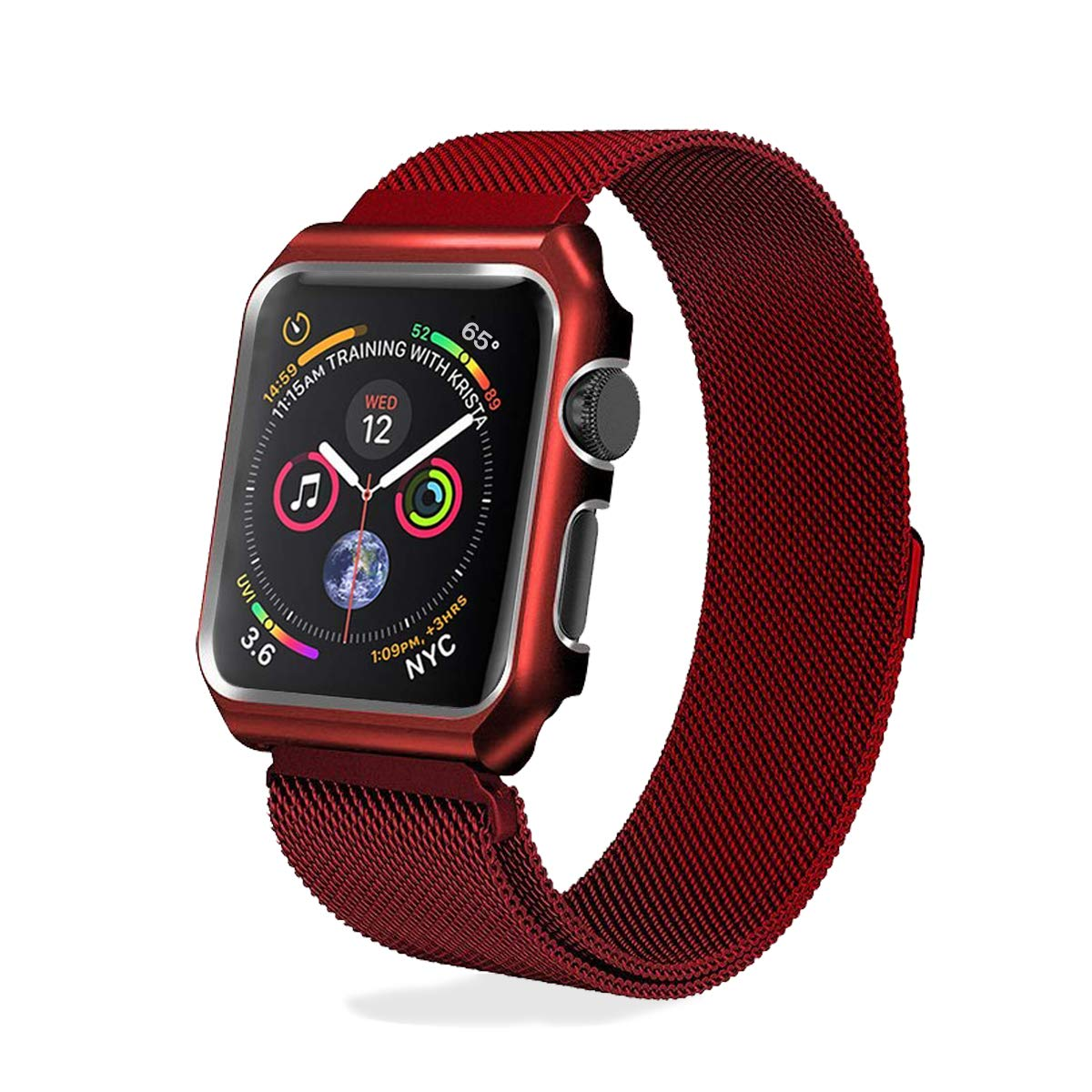 AHXLL Compatible for Apple Watch Band 44mm,Mesh Milanese Loop Stainless Steel Magnetic Band Replacement iWatch + Metal Protective case for Apple Watch Series 4, Sport& Edition (Red, 44mm)