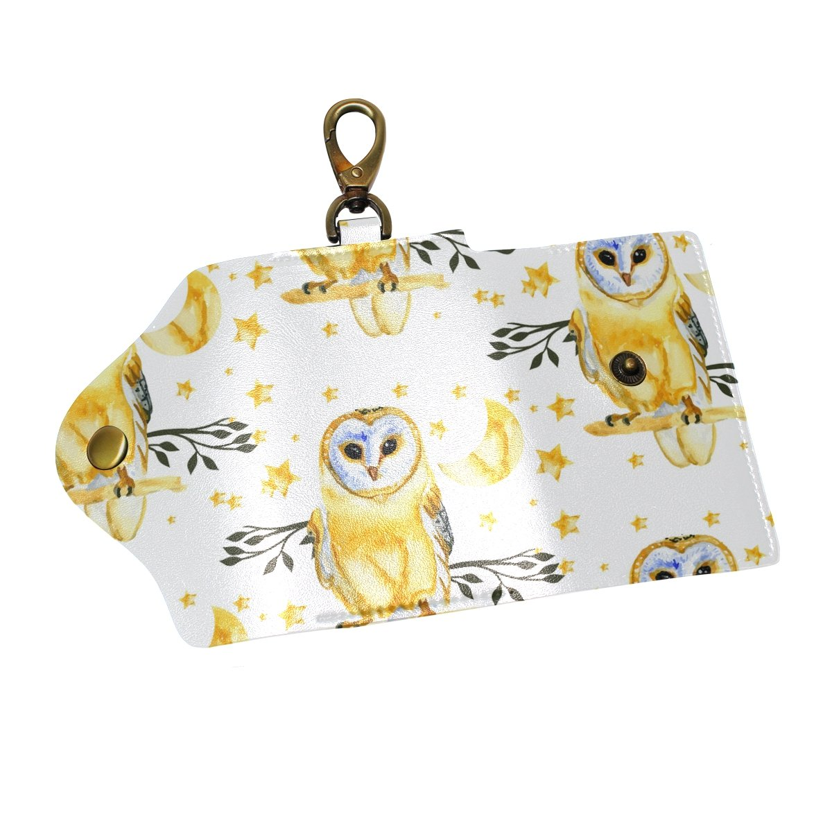 DEYYA Trendsetter Owl Leather Key Case Wallets Unisex Keychain Key Holder with 6 Hooks Snap Closure