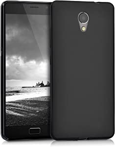 kwmobile TPU Silicone Case Compatible with Lenovo P2 - Soft Flexible Protective Phone Cover - Black Matte