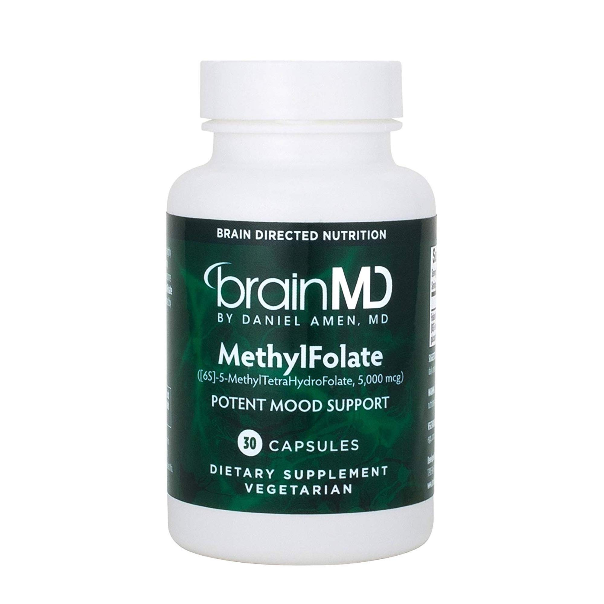 Dr. Amen brainMD MethylFolate - 5 mg Folate, 30 Capsules - Supports Mood & Heart Health, Promotes Cognition & Overall Wellbeing, Anti-Aging - Gluten-Free - 30 Servings
