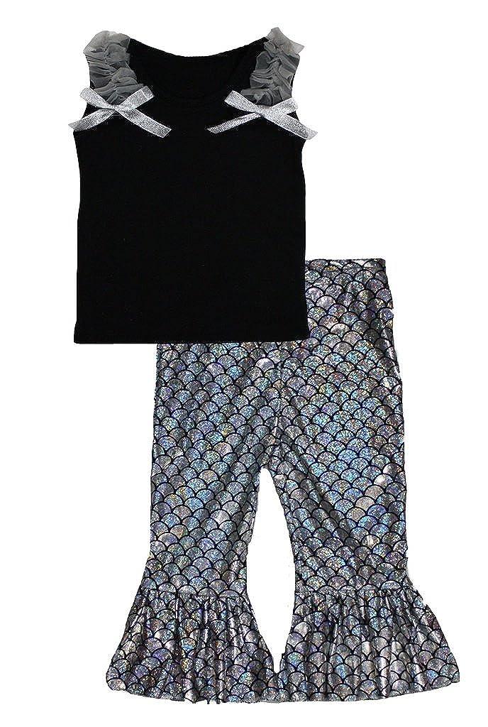 Petitebella Black Cotton Shirt Silver Fish Scale Mermaid Pant Set 1-8y