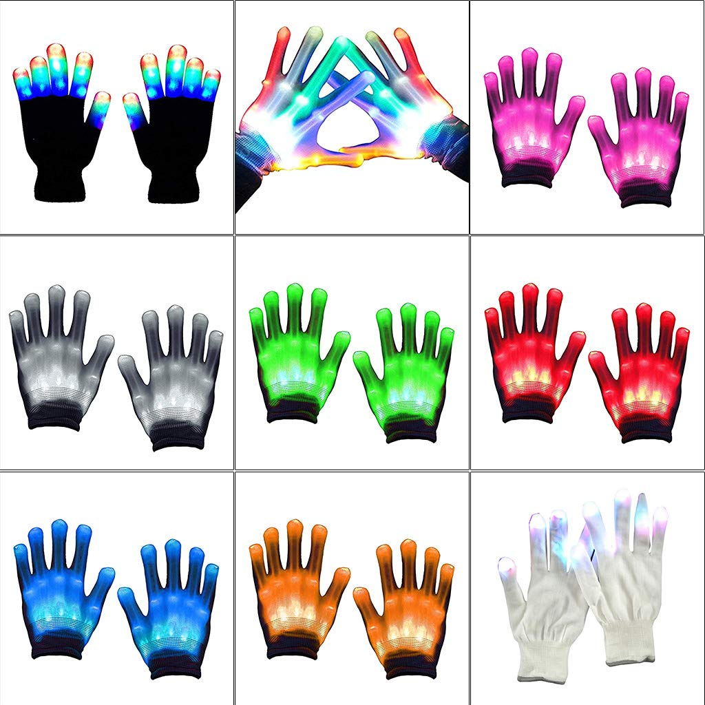 LED Light Gloves Color Changing Luminous Flashing Halloween Stage Performance Supply BY TwJim