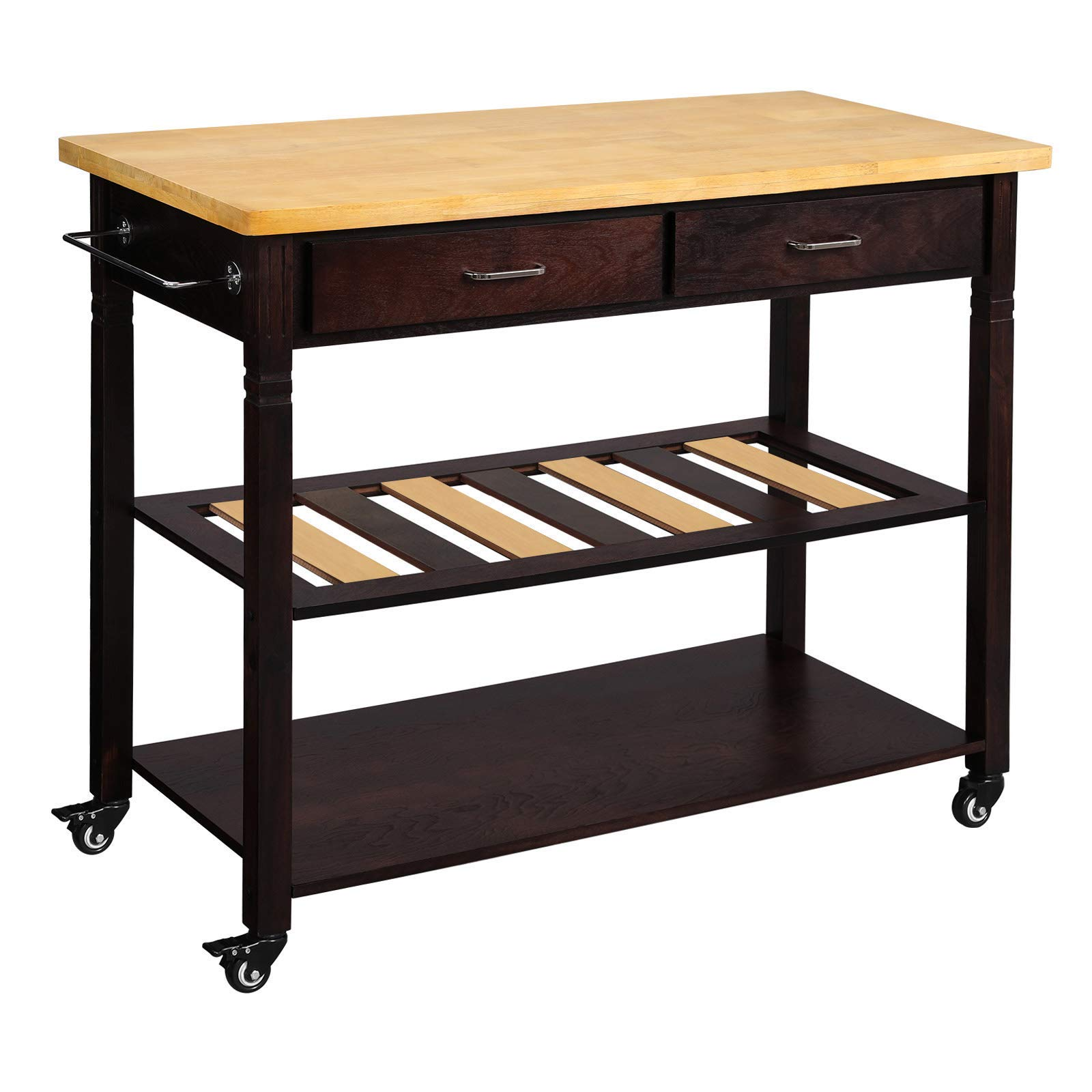 VASAGLE Kitchen Island on Wheels, 3-Tier Rolling Kitchen Cart with 2 Drawers and 1 Towel Rack, Utility Cart with Rubberwood Table, Sturdy, Easy Assembly, Rustic Style, Maple and Dark Walnut UKKC02CY