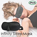PARTYSAVING |Set of 2| Infinity Sleep Eye Mask Comfortable Eye Pillow Contoured 3-D Shape Quality Black Super-Soft Satin APL1238