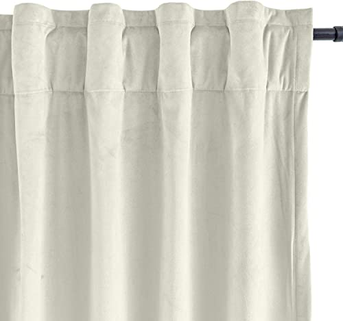 Drapifytex Extra Long Beige 132 inches Long Velvet Curtains 50W x 132L Window Back Tab Rod Pocket Panels